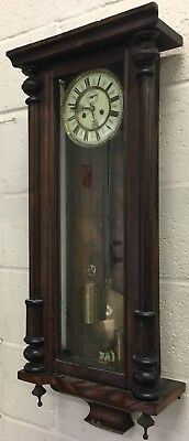 antique victorian Vienna Double Twin Weight Hanging Wall Clock Restoration