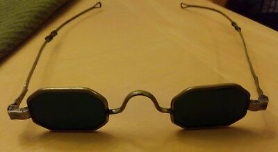 1800s 19th c silver blue green glass sunglasses spectacles octagon steampunk