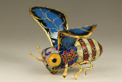 Lovely chinese old Cloisonne hand painting bee statue pendant netsuke