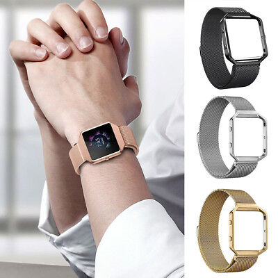 Milanese Magnetic Stainless Steel Wrist Band Strap&Metal Frame For Fitbit Blaze