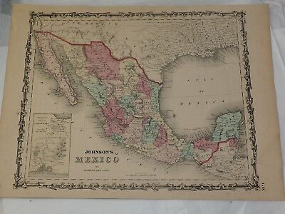 """1863 JOHNSON'S MEXICO Hand Colored by JOHNSON and Ward 14"""" x 18"""""""