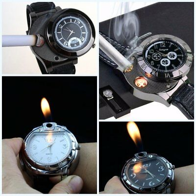 New Black Novelty USB Rechargeable Flameless Electronic Lighter Mens Wrist Watch