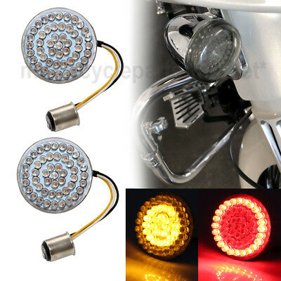 """2"""" Dual Color Amber/RED LED Bullet Turn Signal Bulbs Inserts 1157 for Harley"""