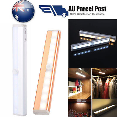 10 LED PIR Sensor Motion Night With Magnetic Strip Battery Operated Light White