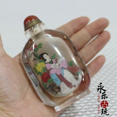 Collectible Crystal Handwork inside paint China classic belle Noble snuff bottle