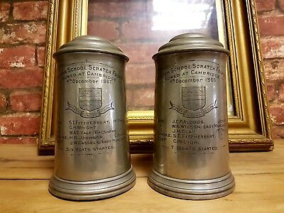 Rowing Tankard Trophy Rare Pair Repton School Scratch Fours 1867 1868 Cambridge
