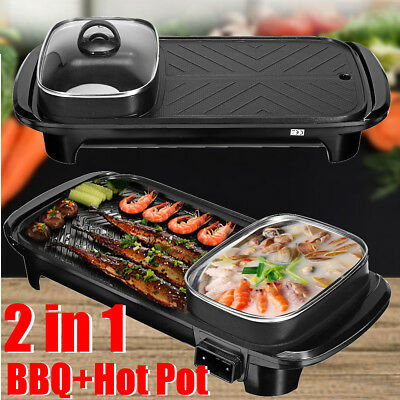 2 In 1 Electric Barbecue Pan Grill Teppanyaki Cook Fry BBQ Oven Hot Pot Kitchen