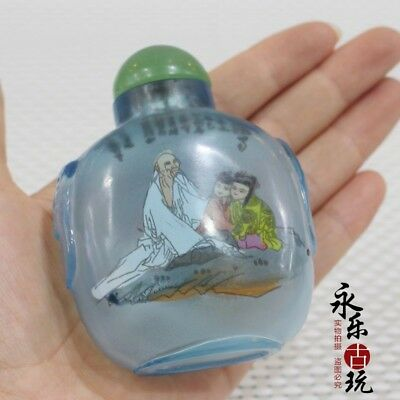 Chinese art Coloured Glaze handwork inside painting story Glass Snuff Bottle