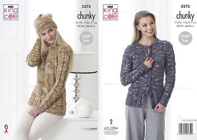 ea3afd540 King Cole 5273 Knitting Pattern Sweater Cardigan Hat in Big Value Tonal  Chunky