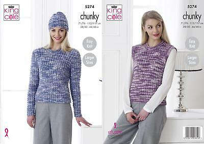 88d5cd208 King Cole 5274 Knitting Pattern Sweater Slipover   Hat in Big Value Tonal  Chunky