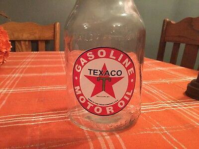 texaco Gasoline Motor Oil Glass Quart Bottle