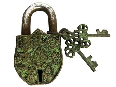 Lock & Key Unusual Solid Brass Vintage Green Themed Old Padlock w 2 keys BL 039