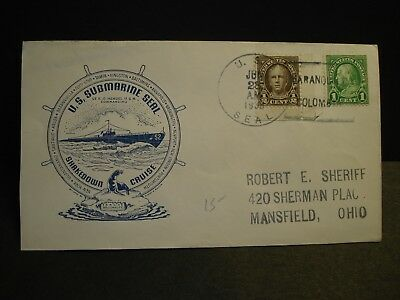 USS SEAL SS-183 Naval Cover 1938 BUCHWALD SHAKEDOWN CRUISE Cachet COLUMBIA