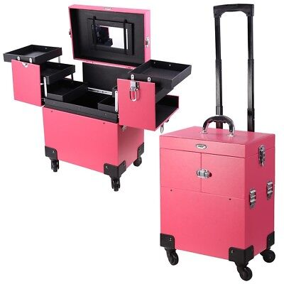 AW Portable PVC Rolling Makeup Cosmetic Train Case Lockable 4 Wheel 14x9x17""