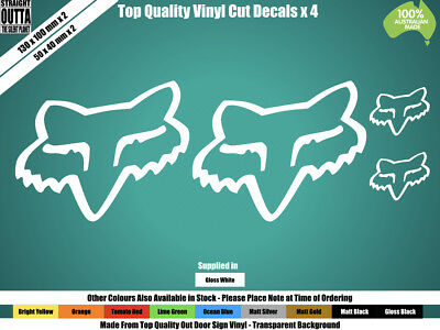 FOX RACING DECAL - FOX HEAD x 4 - MOTORCROSS - WHITE or COLOURS