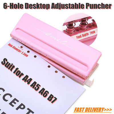 Adjustable 6-Hole Puncher Punching A4/A5/A6/B7 Paper Desktop Metal & Plastic