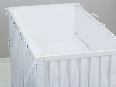luxury ALL ROUND BUMPER WHITE COVERS  4 SIDES COT /COT BED 360 or 420 CM LONG
