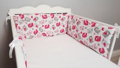 COT BUMPER double-sided STRAIGHT FILLED PADDED FOR COT/COT BED GREY PINK BIRDS