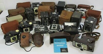Job Lot of Vintage Photography Cameras Agfa Braun Coronet Ensign Kodak