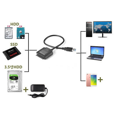 USB 3.0 To SATA Power Adapter For 3.5inch HDD 2.5inch SSD Hard Disk with 12V  PQ