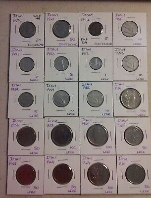 Italy Coin Lot - (1920 to 1970) - 20 Different Carded Coins - (#CWC1260)