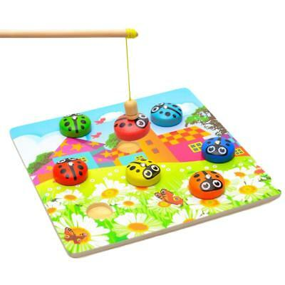 Wooden Magnetic Fishing Beetles Scarabs Game Early Childhood Toys 3-7 Age Kid