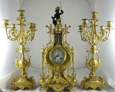 Antique XL French 19thc A.D.Mougin gilt ormolu bronze mantle clock garniture set