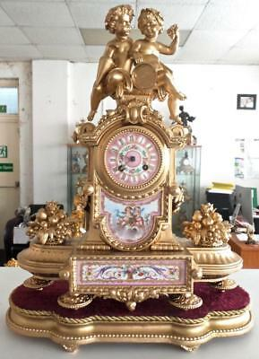 Large XL Antique 19th c French Mantle Clock On Base With Superb Sevres Porcelain