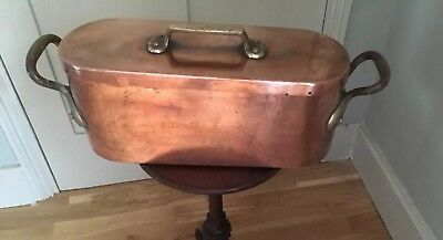 Magnificent Antique 19th Century FRENCH COPPER FISH KETTLE & COVER