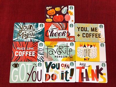 Set Of 10 New Starbucks Fall 2018 Recycled Paper Gift Cards Lot