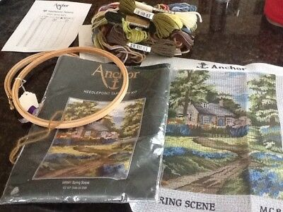 Anchor Tapestry Kit Canvas And Wools and Two New Wooden Tapestry Hoops