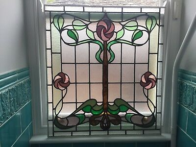 Beautifull Art Nouveu Stained Glass Panel, Great Condition