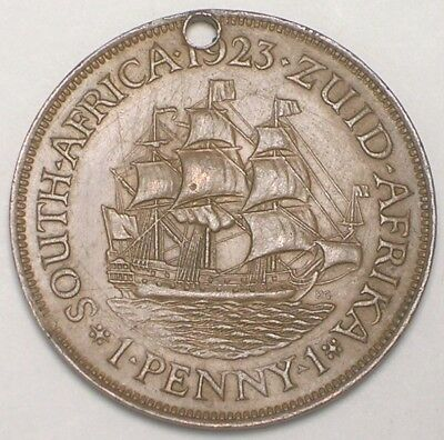 1923 South Africa African One 1 Penny Sailing Ship Coin Holed