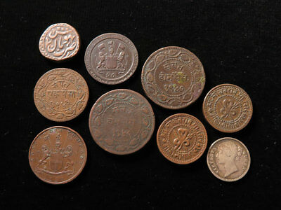 India Collection of 9x British EIC and States Coins 19thC