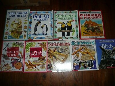 Lot of 9 USBORNE SCIENCE & HISTORY books educational EXPLORERS Scientists EGYPT