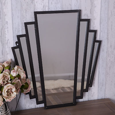 Black Tall Fan Mirror Wall Art Deco Style Hallway Bedroom French Chic Shabby