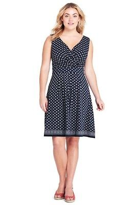 426fcc2af6236 Lands End Women s Plus Sleeveless Fit and Flare Dress Radiant Navy Bandana  New