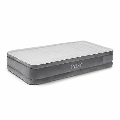 Intex PVC Dura-Beam Series Mid Rise Airbed with Built In Electric Pump, Twin