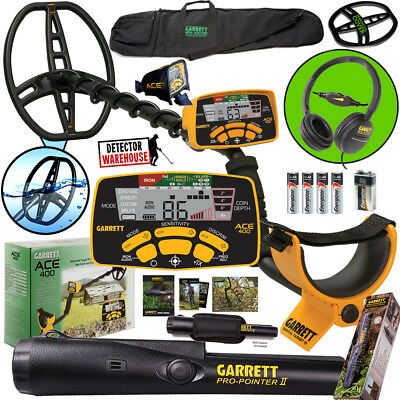 Garrett ACE 400 Metal Detector with Propointer II and Travel Bag plus extras