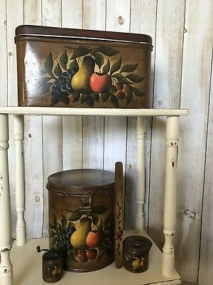 Antique Toleware - Hand Painted Tinware Set