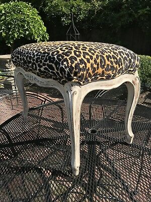 Antique Painted French Bench Stool Leopard Print