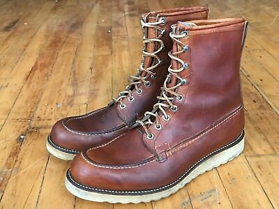 VTG 50s Chippewa Moc Toe Work Boots Red Wing Style 12 Tan Leather 40s Crepe Sole