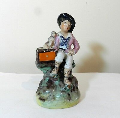Antique Staffordshire Figure Boy with Monkey
