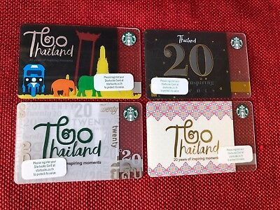 Set Of 4 Starbucks 2018 Thailand 20Th Anniversary Gift Cards Lot Very Limited