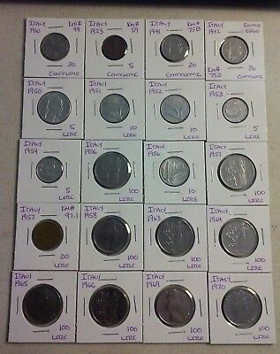 Italy Coin Lot - (1910 to 1970) - 20 Different Carded Coins - (#CWC1300)