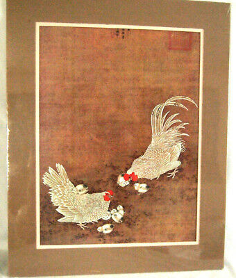 Lithograph Print from Old Chinese Original Watercolor Roosters Scroll Painting