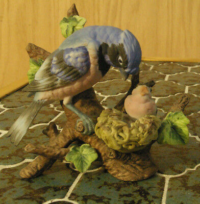 Blue Jay and young Bird Figurine