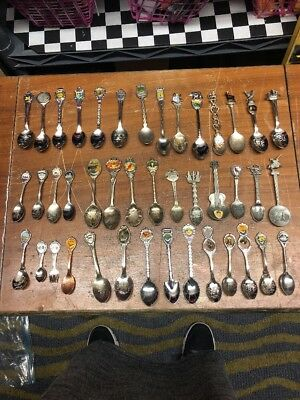 Large MIXED Lot of 42 COLLECTOR Souvenir Spoons Antique Vintage PEWTER COPPER