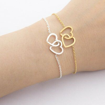 Stainless Steel Gold/Silver Double Love Heart Bangle Adjustable Chain Bracelet