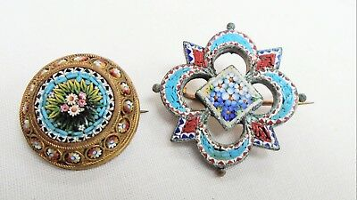 Two very fine quality vintage gold metal & micro mosaic flower design brooches
